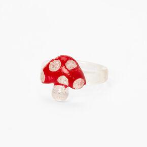 Clear Glitter Mushroom Resin Ring - Red,
