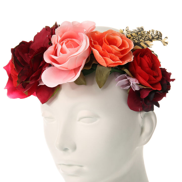 Rosy Red Oversized Flower Crown Headwrap