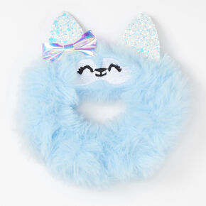 Medium Faux Fur Husky Hair Scrunchie - Blue,