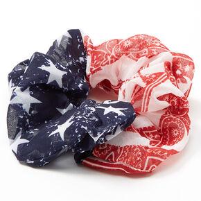 Medium American Flag Paisley Bandana Hair Scrunchie,