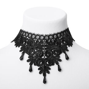 Gothic Lace Choker Necklace - Black,