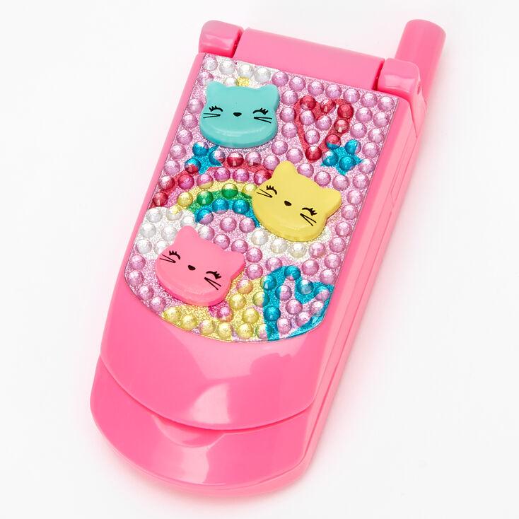 Claire's Club Rainbow Kitty Bling Flip Phone Lip Gloss Set - Pink,