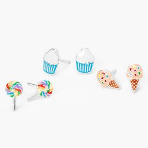 Silver Dessert Stud Earrings - 3 Pack,