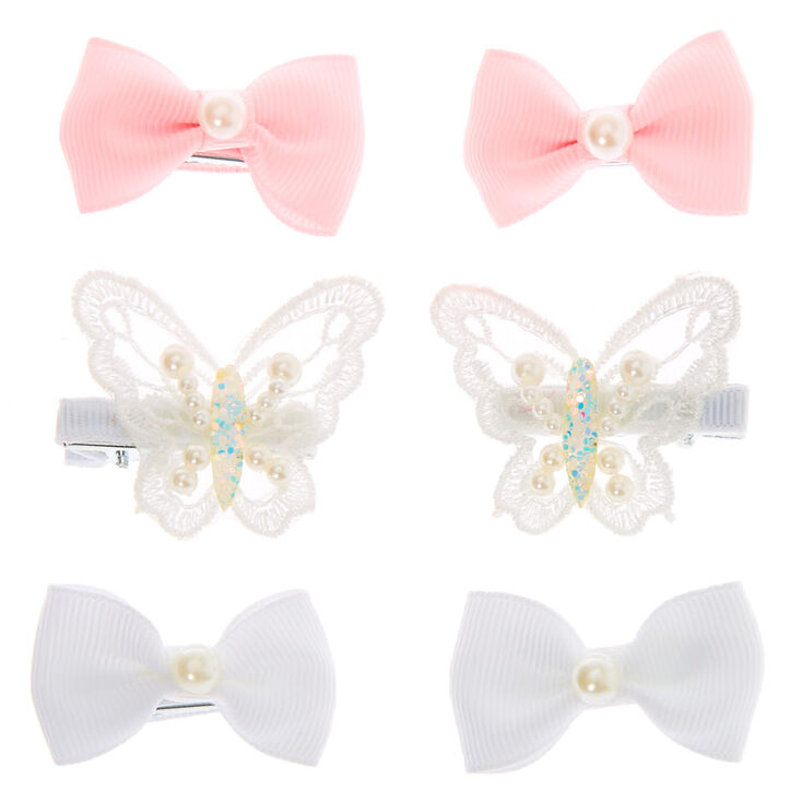 Claire's Club Pearl Bow Hair Clips - 6 Pack,