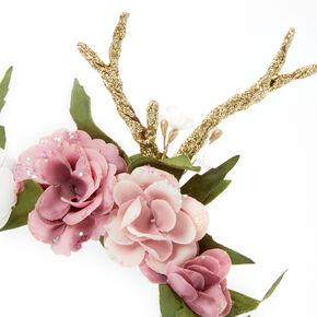 Antler Flower Crown Headband - Pink,