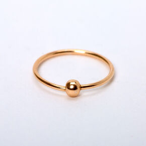 Sterling Silver 22G Rose Gold Beaded Nose Ring,