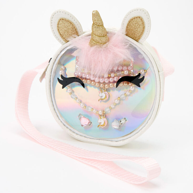 Claire's Club Unicorn Jewelry & Crossbody Bag Gift Set - 7 Pack,