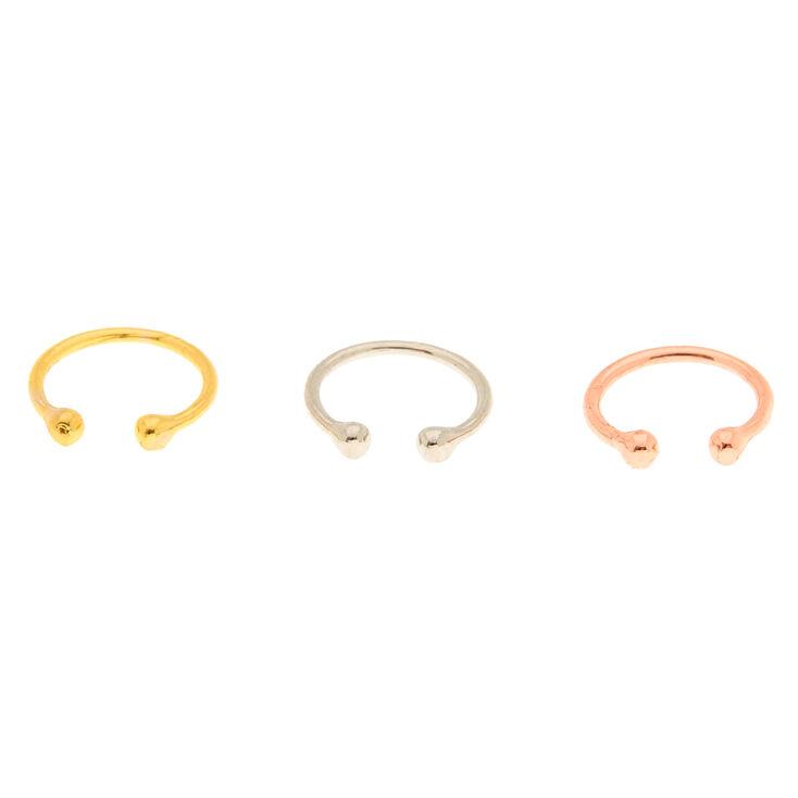 Mixed Metal Faux Hoop Nose Rings - 3 Pack,