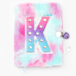 Journal intime à cadenas pelucheux à initiale - K,