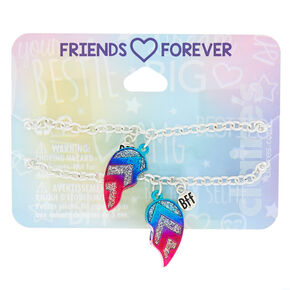 Silver Ombre Heart Chain Friendship Bracelets - 2 Pack,