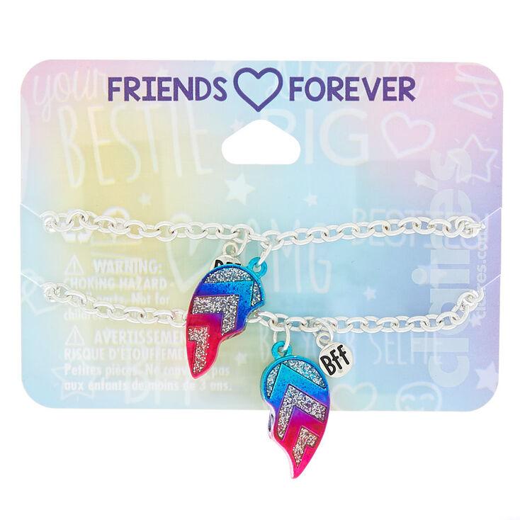 Silver Ombre Heart Chain Friendship Bracelets - 2 Pack,