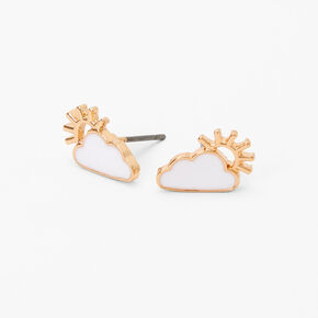 Gold Sun and Clouds Stud Earrings,
