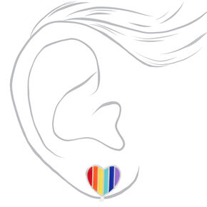 Silver Rainbow Heart Clip On Stud Earrings,