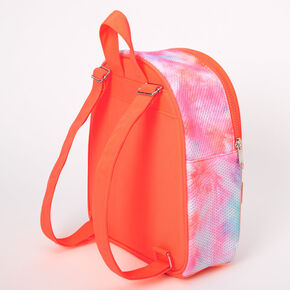 Mesh Neon Tie Dye Small Backpack - Coral,