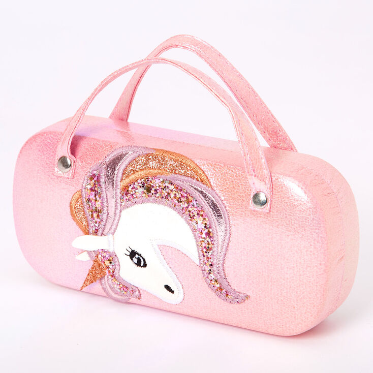 Claire's Club Holographic Unicorn Sunglasses Case - Pink,
