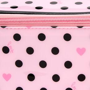 Polka Dot Hearts Makeup Bag - Pink,