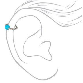 Anneau de cartilage torsadé 16g couleurs titanée et argentée - Turquoise,