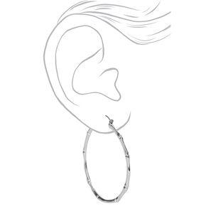 Silver 60MM Thin Bamboo Hoop Earrings,