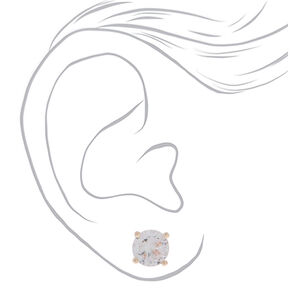 Rose Gold Cubic Zirconia Round Stud Earrings - 4MM, 5MM, 6MM,