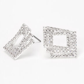 "Silver 2"" Triple Square Rhinestone Drop Earrings,"