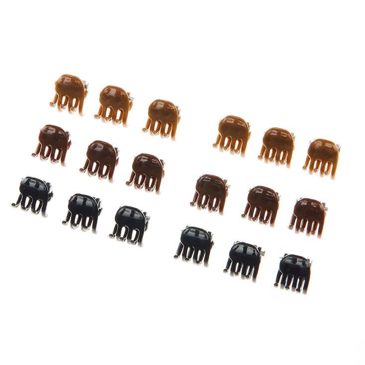 Lot de 18 mini pinces à cheveux noires, marron et couleur dorées,