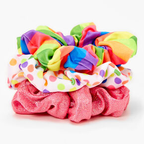 Rainbow Stripes & Polka Dots Hair Scrunchies - 3 Pack,
