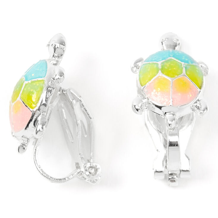 Pastel Rainbow Turtle Clip On Earrings,