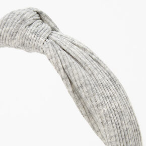 Ribbed Knotted Headband - Light Grey,