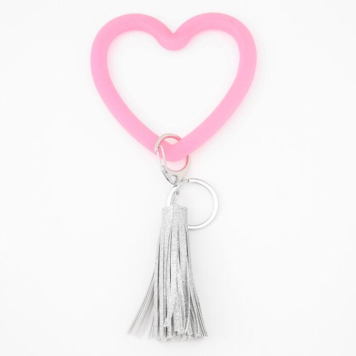 Porte-clés pompons cœur - Rose,