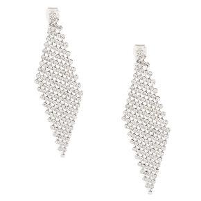"""Silver 2.5"""" Mesh Rhinestone Clip On Drop Earrings,"""