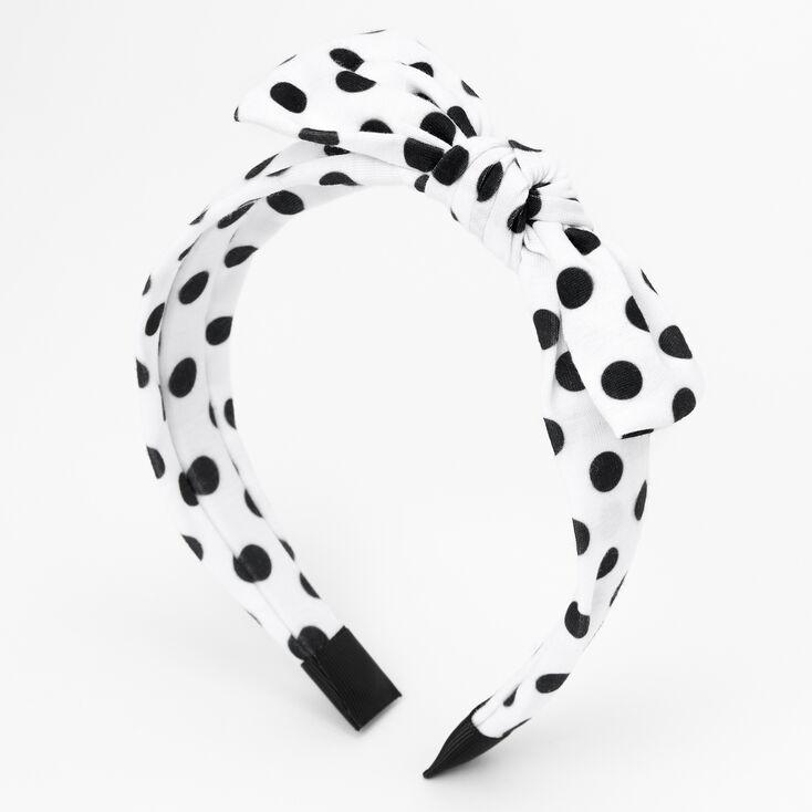 Claire's Club White & Black Polka Dot Bow Headband,