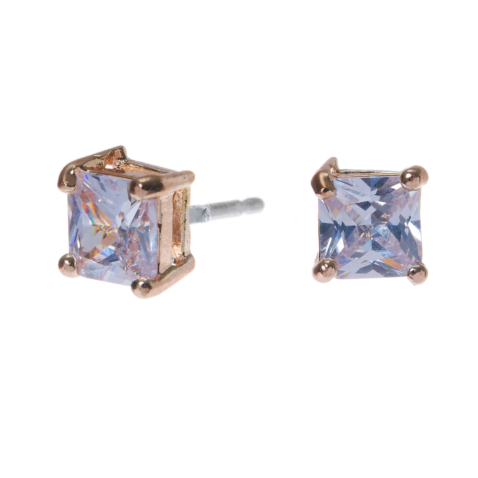 Rose Gold Cubic Zirconia Square Stud Earrings - 5MM