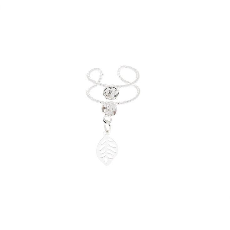 Silver Crystal Leaf Double Row Ear Cuff Earring,