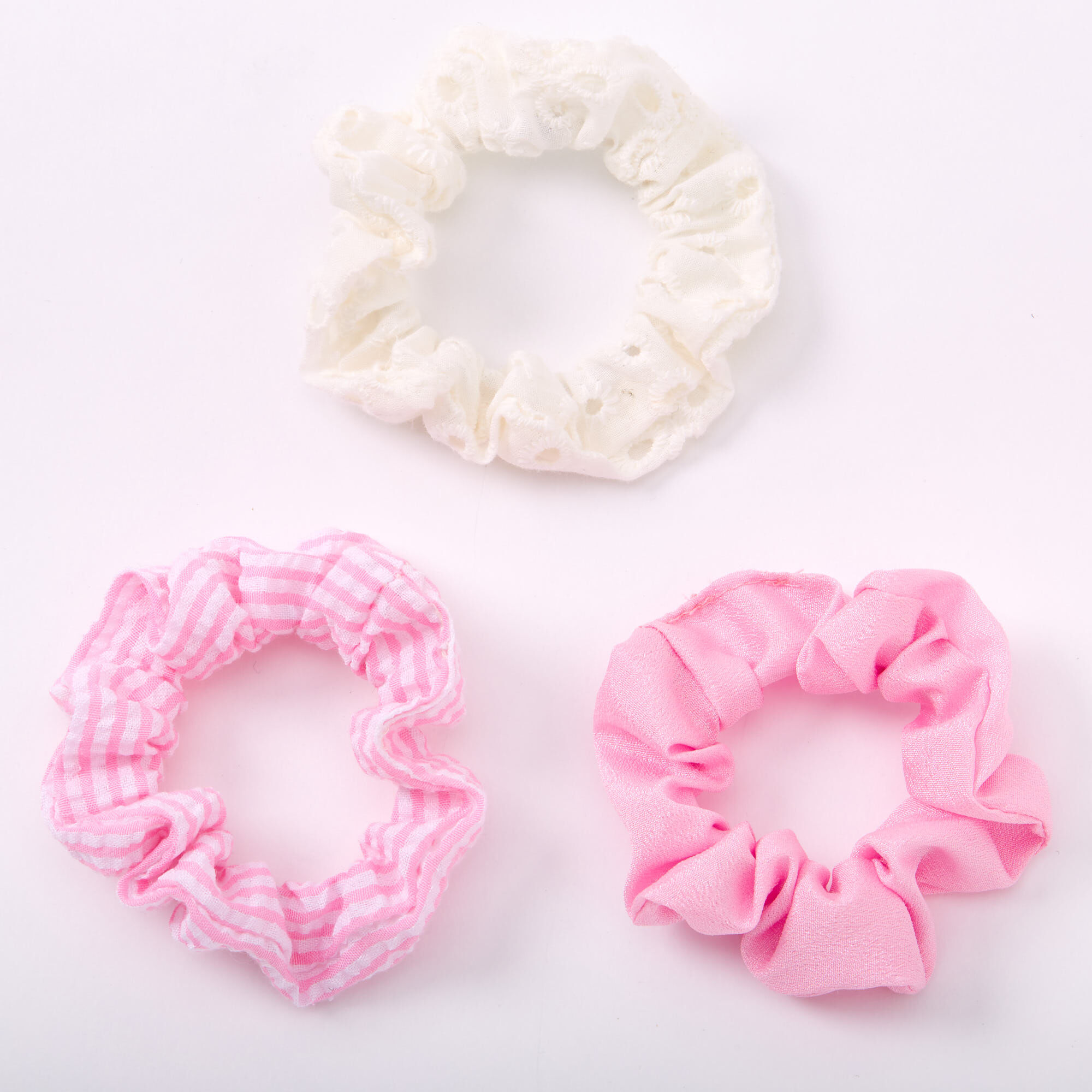 2 x Pink and Blue Striped Hair Scrunchie
