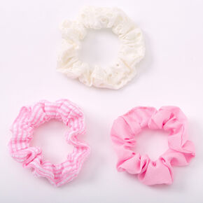 Claire's Club Small Solid Striped Hair Scrunchies - Pink, 3 Pack,