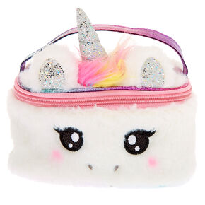 Claire's Club Pastel Unicorn Makeup Bag - White,