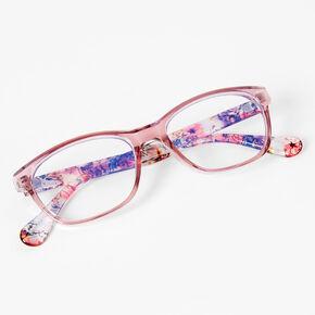 Solar Blue Light Reducing Floral Rectangle Clear Lens Frames - Pink,