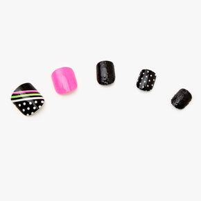 Polka Dot Square Press On Faux Nail Set - Black, 24 Pack,