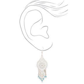 "Silver 2.5"" Filigree Bead Drop Earrings - Turquoise,"