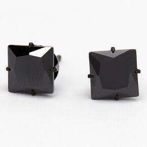 Black Titanium Cubic Zirconia Square Stud Earrings - 7MM,