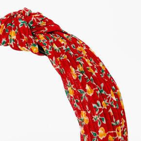 Serre-tête à nœud plissé floral - Rouge,