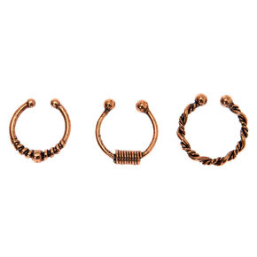 Rose Gold Burnt Bali Faux Hoop Nose Rings - 3 Pack,