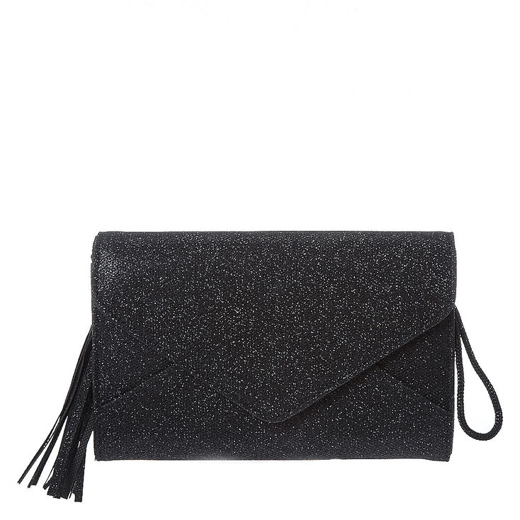 243fdd43d66a Black Envelope Tassel Clutch