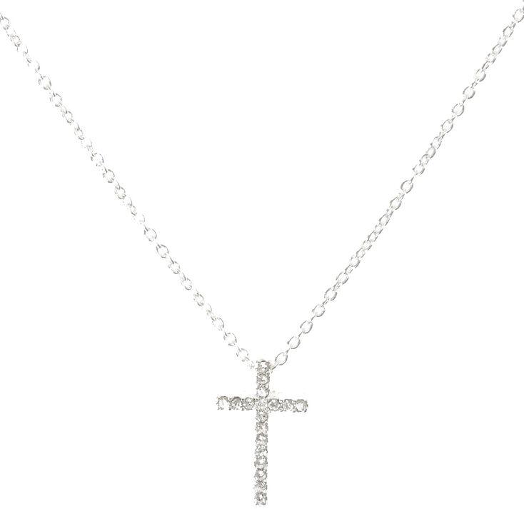 Silver Embellished Cross Pendant Necklace,