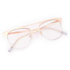Rose Gold Browline Clear Glass Frames,