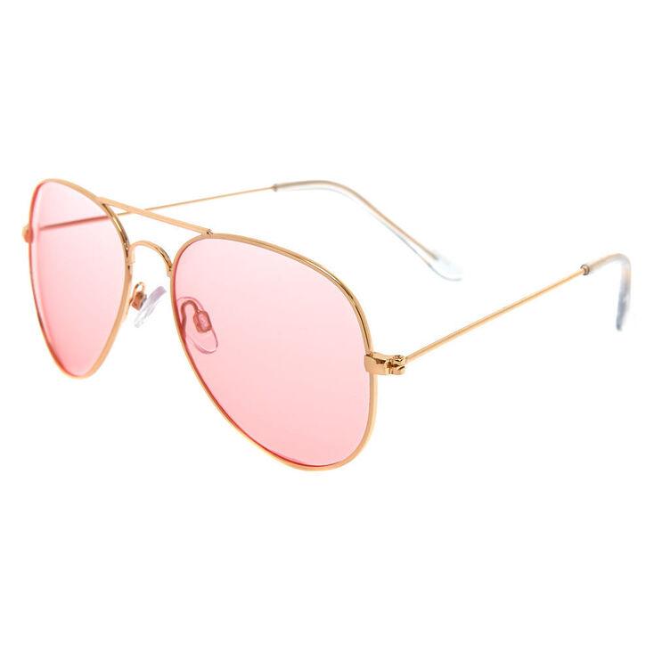 Pink Tinted Aviator Sunglasses - Gold,