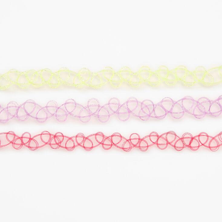 Glitter Tattoo Choker Necklaces - 3 Pack,