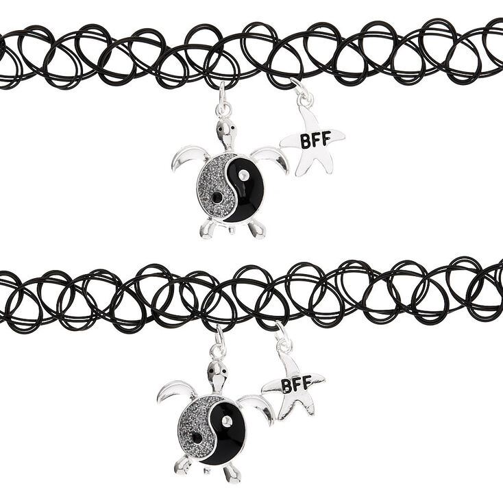 Best Friends Turtle Yin and Yang Tattoo Choker Necklaces - 2 Pack,