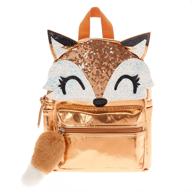 Farrah The Fox Metallic Backpack Rose Gold Claire S Us