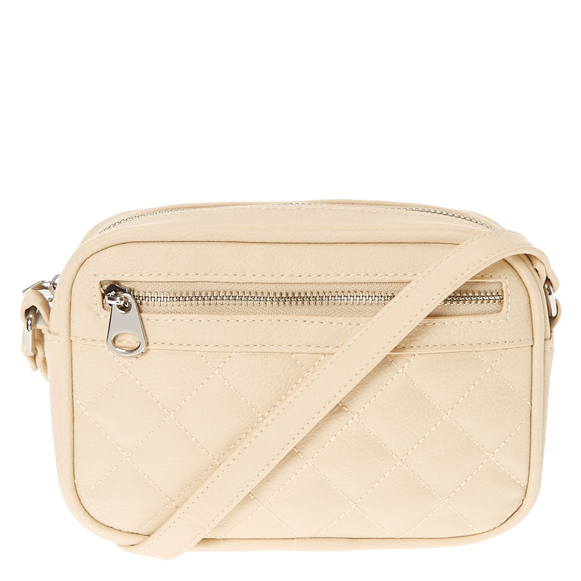 3514080340d8 Nude Quilted Faux Leather Crossbody Bag
